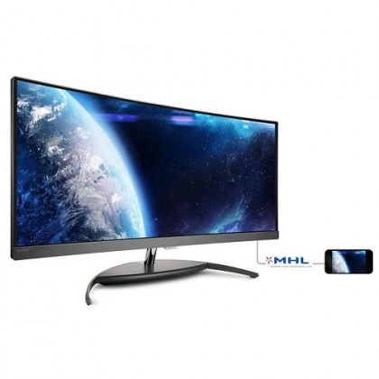 Philips BDM3490UC 34.1'' Curved UltraWide LCD Monitor (Display Port 1.2/ HDMI 1.4 / HDMI 1.4 MHL/ Audio Out/ USB3.0 / Built-in Stereo Speaker))