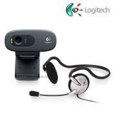 Logitech C270 HD Webcam + Mono Headset
