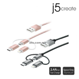 J5 JMLC10 Micro-USB Cable with Lightning & Type-C Adapter (3-in-1)